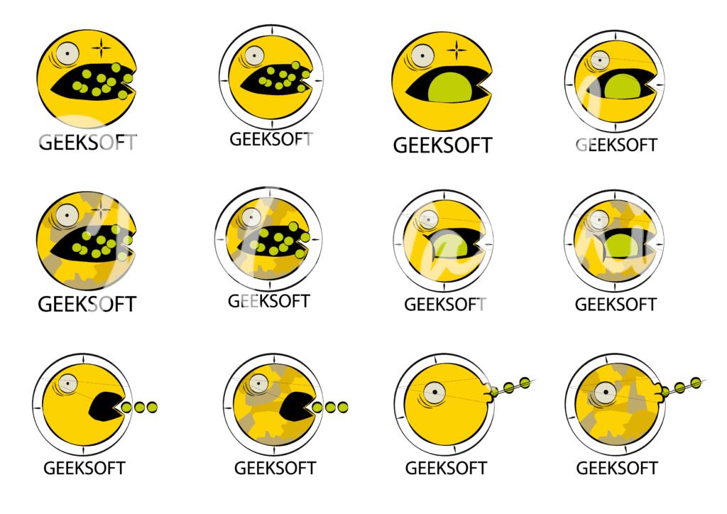 différentes propositions de logo pour  l'association d'airsoft, la geeksoft à bordeaux