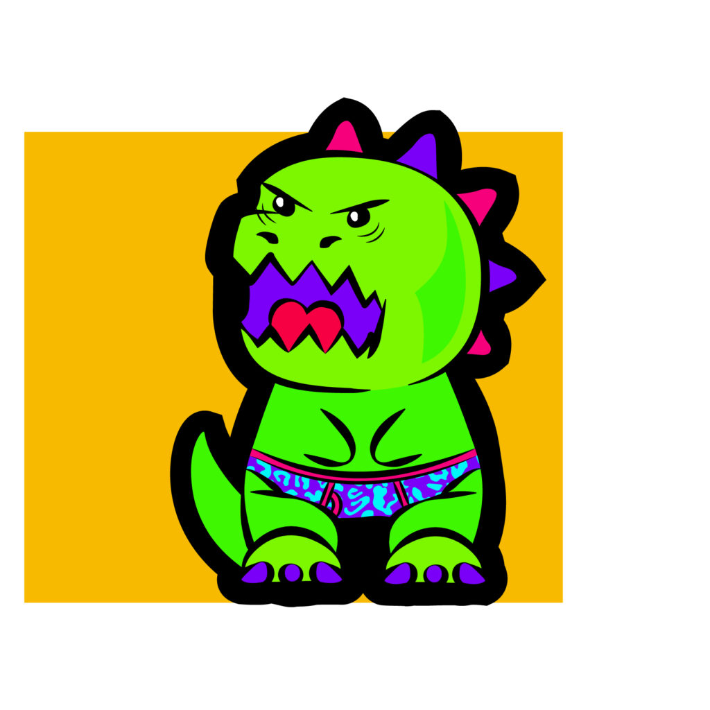 trex kawaii illustration fluo charlene verrier japon