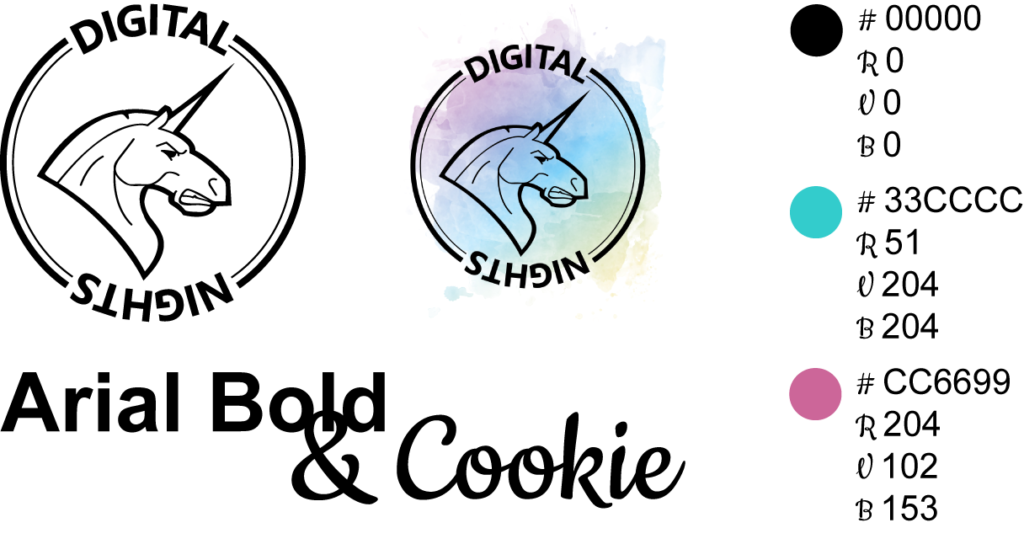 charte Graphique DN Digital Nights Bordeaux licorne logo