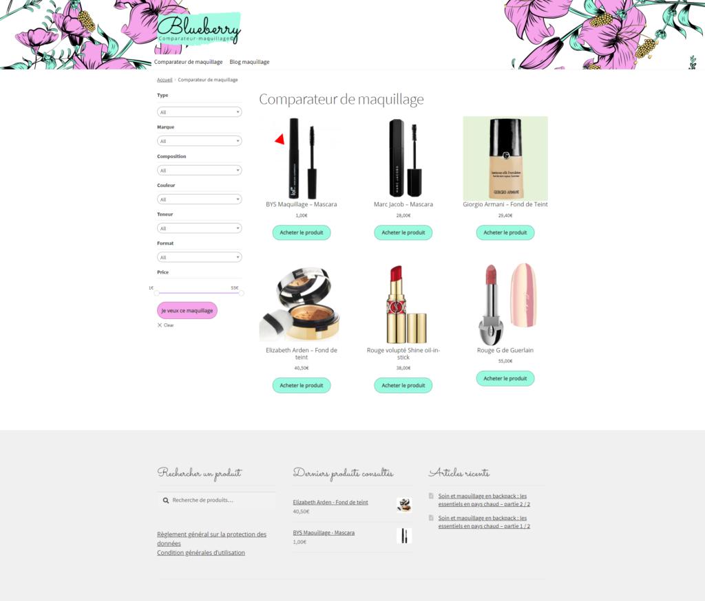 COmparateur de maquillage pour comparer les maquillages, webdesign