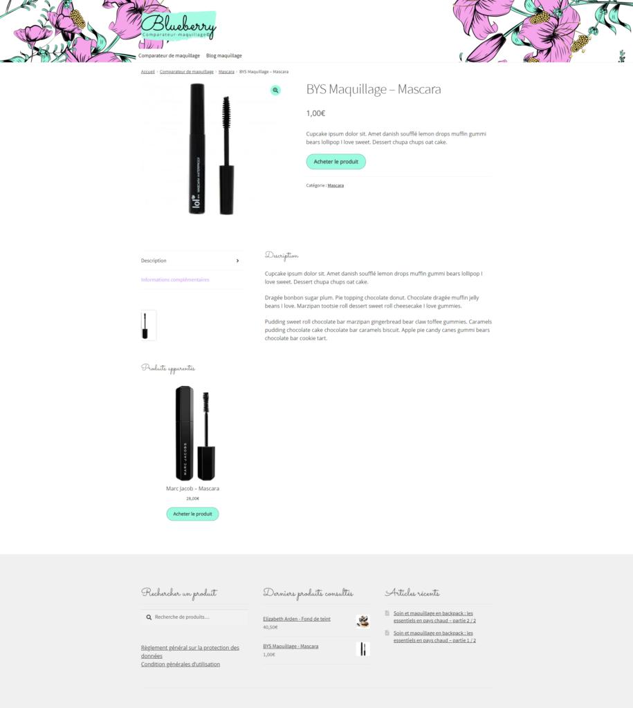 Fiche produit type de consultation d'un maquillage de comparateur de mquille en webdesign