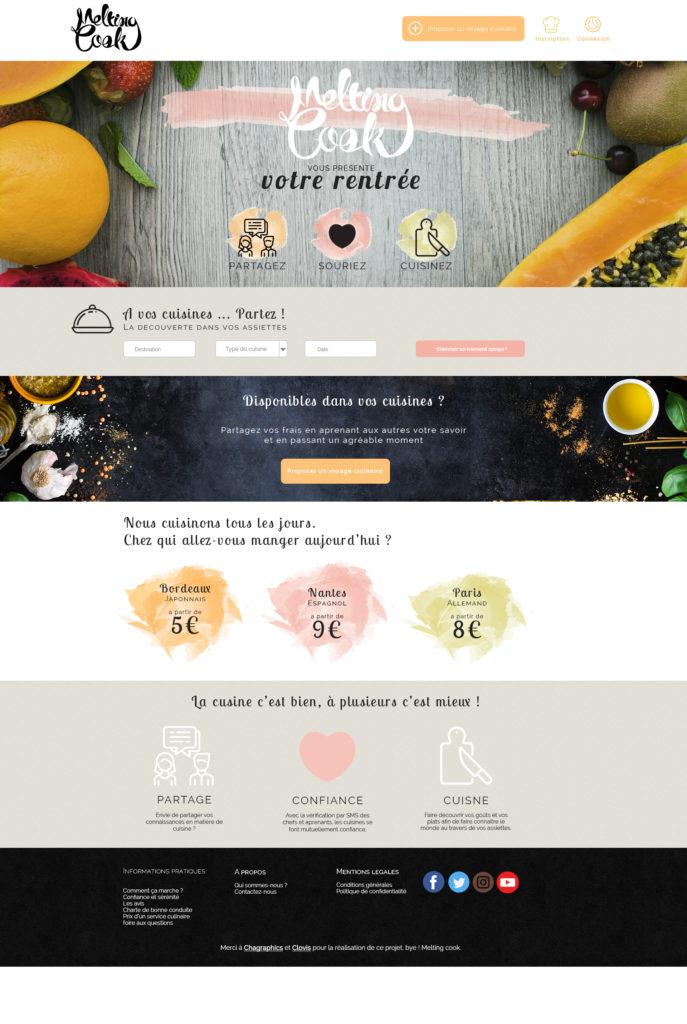 Webdesign de la page d'accueil du site internet